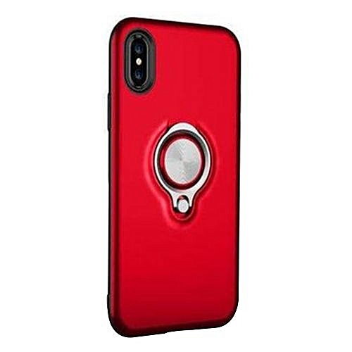 promo code 44375 829eb Hybrid Armor Case Shockproof Cases 360 Ring Stand Holder Magnetic Back  Cover For iPhone X - Red