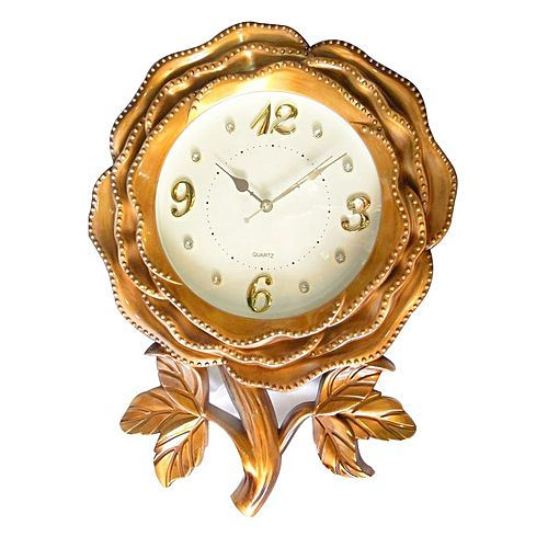 Rose Flower Shaped Designer Wall Clock - Brown | Buy Online