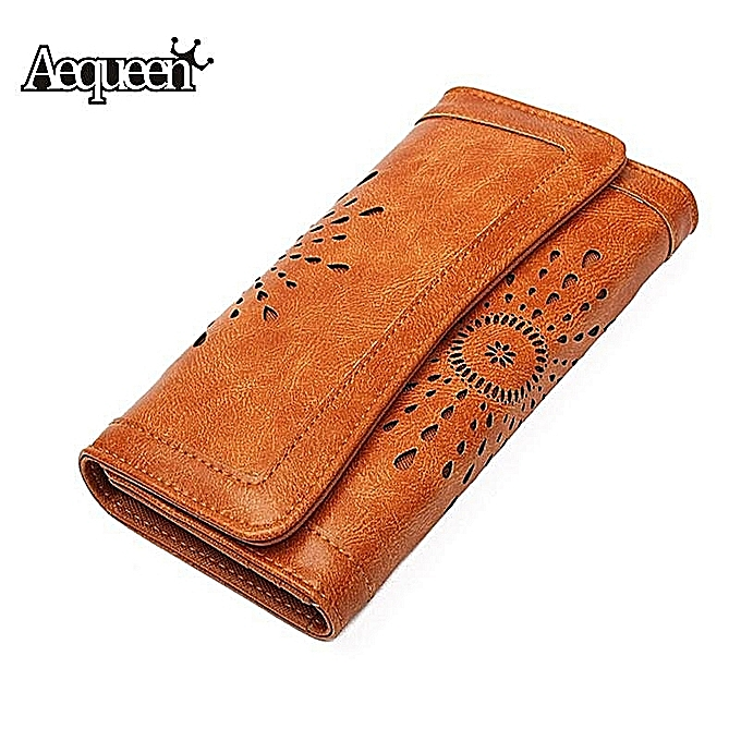 Wallet Holder Female Hollow Women's Aequeen Phone Brown Long Card Pu Leather Credit Hand Purse Out Lady Coin Clutch Money shQdCtr