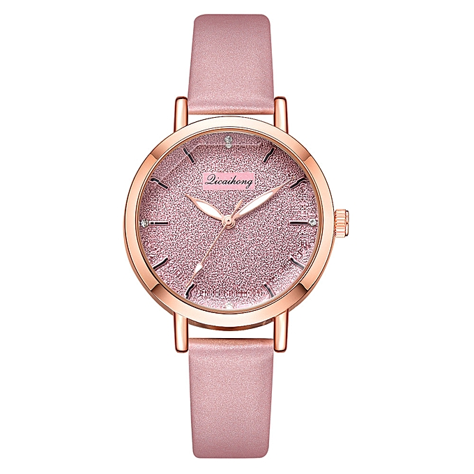Hiamok Fashion Quartz Ladies Convex Glass Leather Watches High Quality Clock Wristwatch