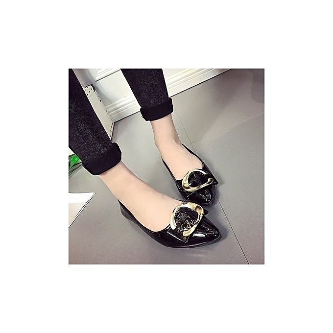 1db342acfd8a Korean Version Spring New Style Pointed Single Shoes With Square Buckle  Women's Shoes Flat Heel Flat