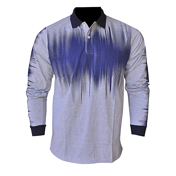 4ae3b4a3fa7a Buy Generic Men's Collared Long Sleeve T- Shirt - Navy Blue,White ...