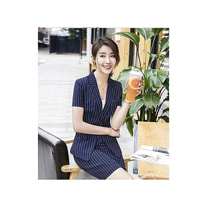 11f3b02b50b9 RefinedOL Classic Short-sleeved Professional Pants Suit Interview Sales  Dress Suits Striped Jacket-blue