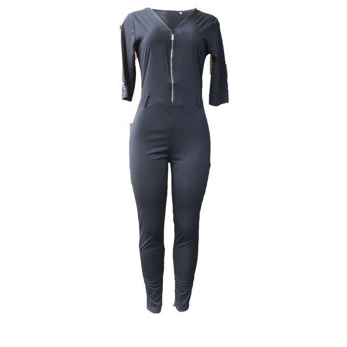 fb05a64a920 White Label Womenu0026 39 s Front Zipper Designed Jumpsuit - Black
