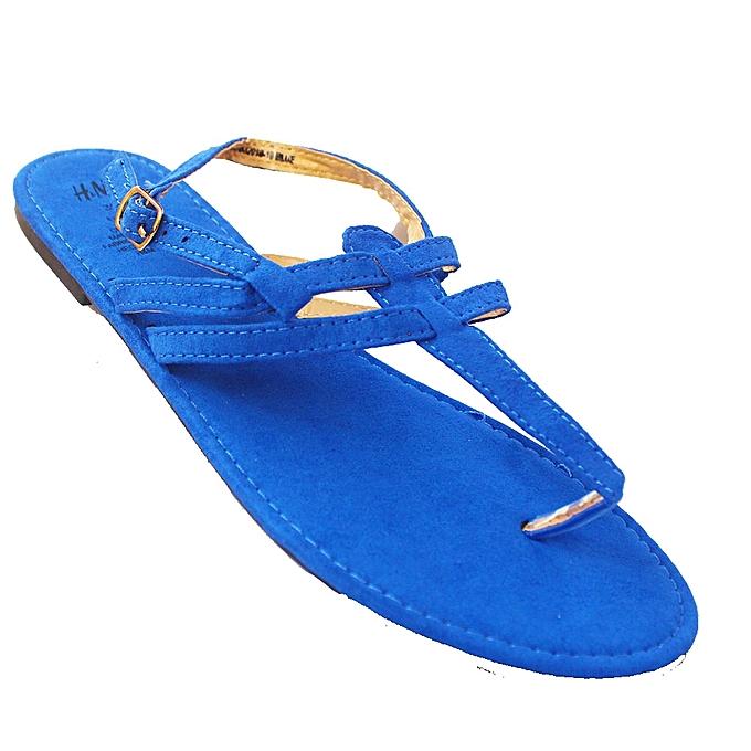 H M T-Strap Flat Sandals - Blue