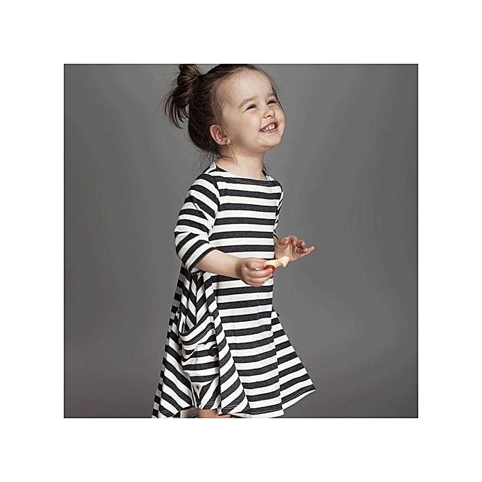 a80759717f833 Hot Sale 1-8 Years Girls Short Sleeve Blue Stripe Summer Dress Cotton Casual  Dresses