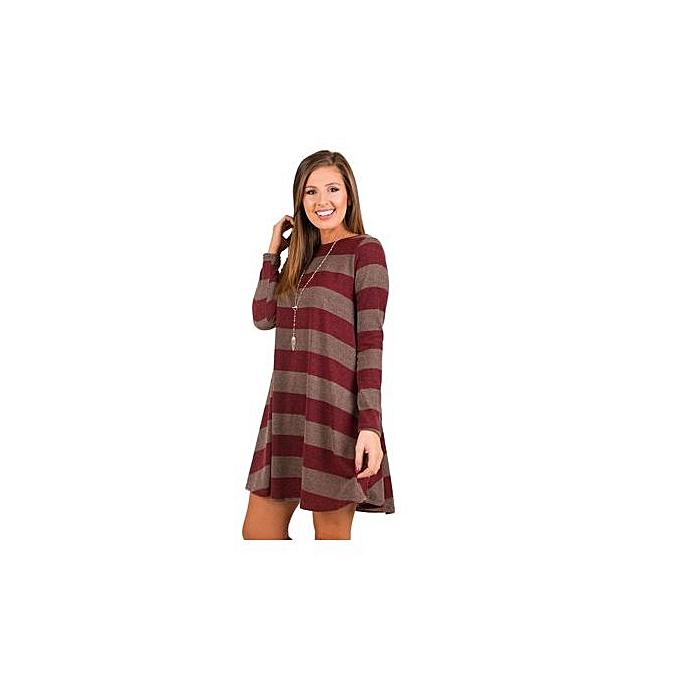 53371ebb6674 Western Style Women's Best-selling Short Skirt Amazon Hot Style Wide  Stripes Long Sleeve Dress
