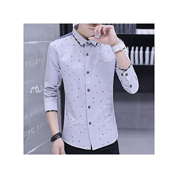 d4a81d501 Men Casual Dress Shirts Long Sleeve Clothes Male 100% Cotton Print Shirts  Men Rock Shirt
