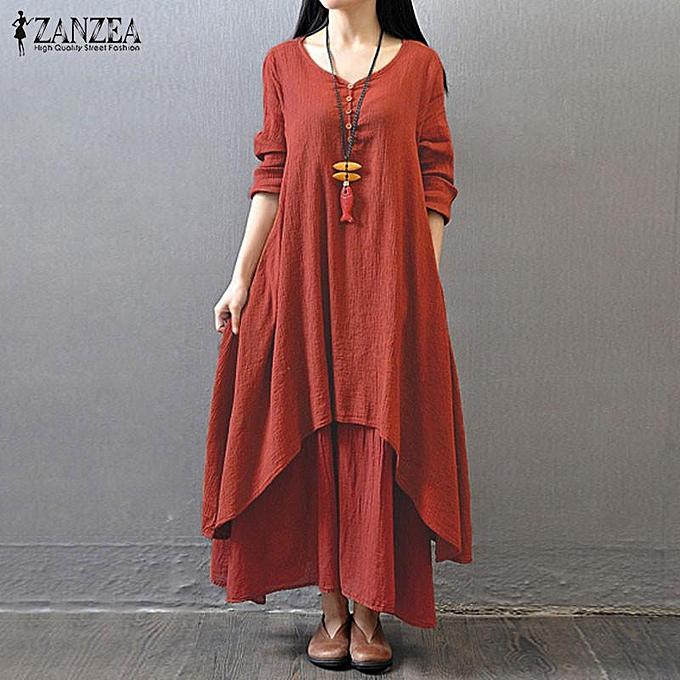 1d05f1e2cc Boho Long Maxi Dress ZANZEA Women Casual Solid Cotton Linen Vestidos Plus  Size Elegant Loose Full