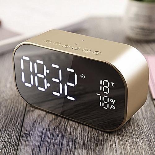 S2 Portable Wireless Speaker Music Sound Box LED Time Alarm Clock Gold