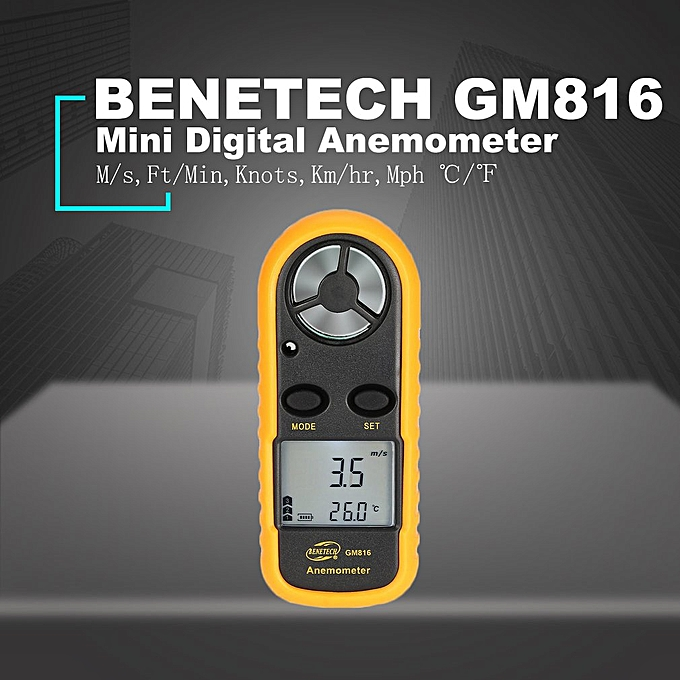 BENETECH GM816 Digital Anemometer Wind Speed Meter Airflow Gauge  Orange&Black