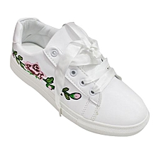 b776d5bbaae Floral Embroidered Low-Top Sneakers - White