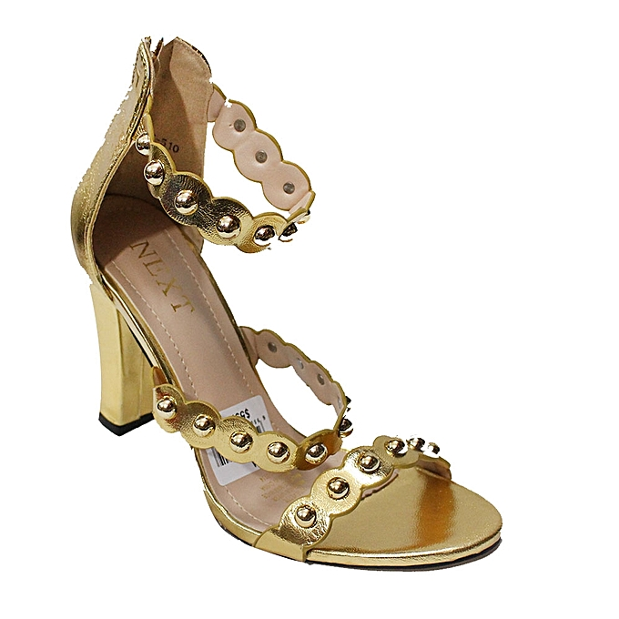 886e16f99 Next Next Triple Strap Block Heel Sandals - Gold