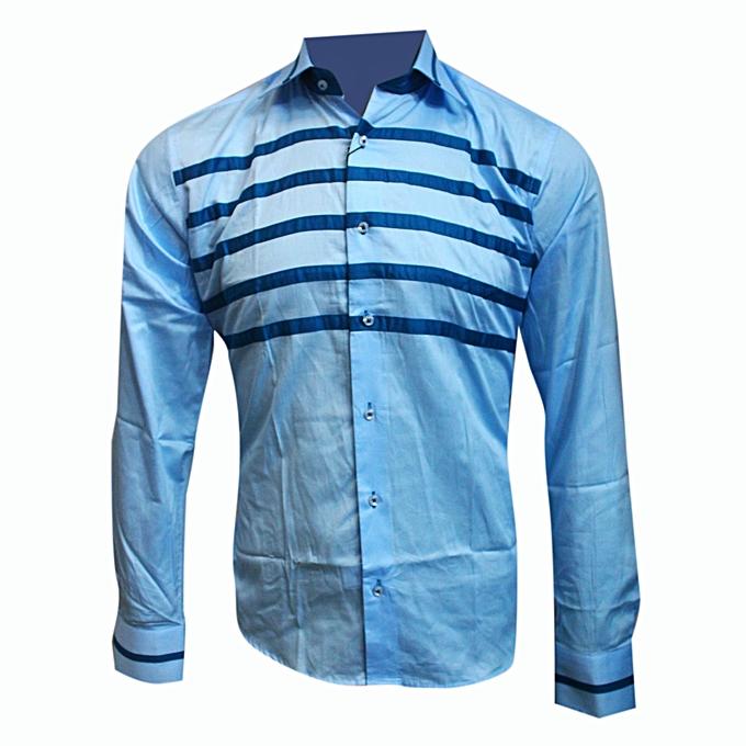 f238cbdbe416 Dressy look perfect shirt-Light-Blue with five dark blue horizontal strips  infront .