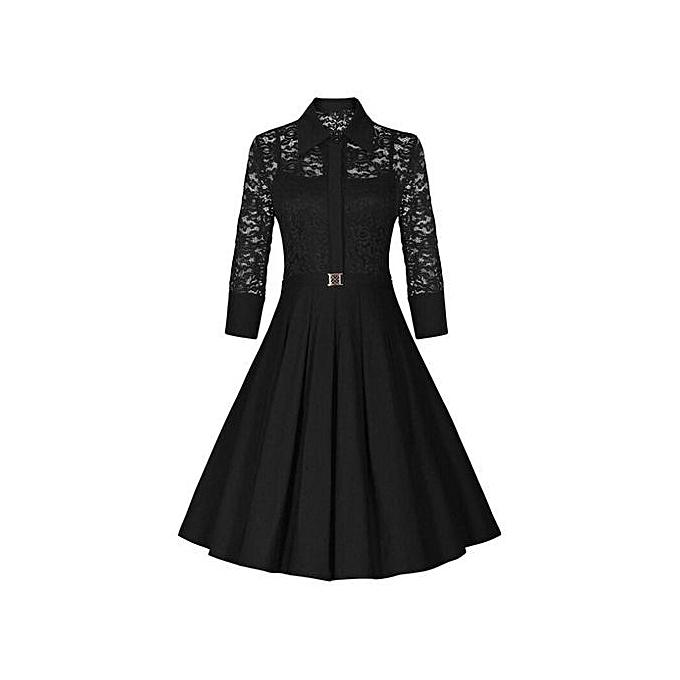 4ed0f119e5e4a Summer Dress Burgundy Lace Dress Women Vintage Dress Vestidos With Belt  Long Sleeve Audrey Hepburn Robe Retro Rockabiliy-blue