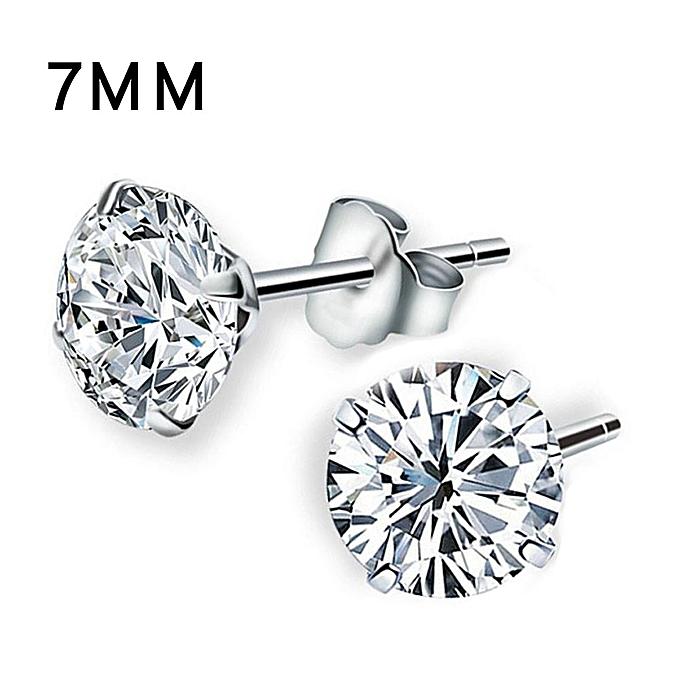 b4ba6ea8ee819 Hiamok Women Solid 925 Sterling Silver Cubic Zirconia Round Stud Earrings