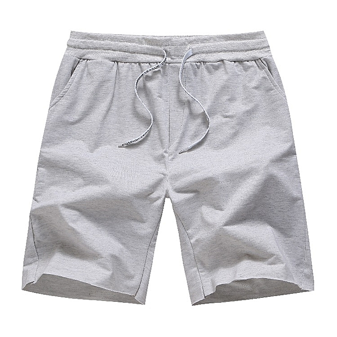 d3498b636addf New men's beach pants color matching quick-drying elastic casual shorts—grey