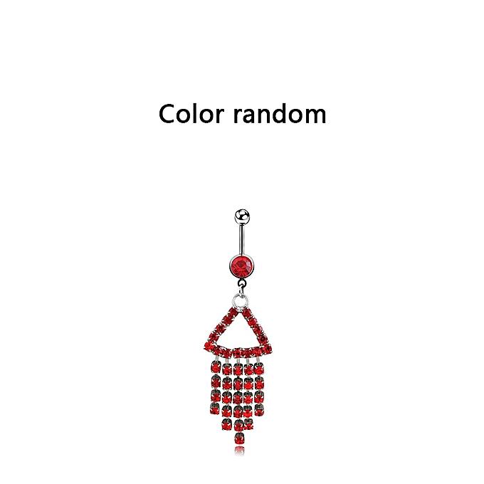 Full Rhinestone Exaggerated Triangle Tassel Navel Ring Body Piercing Jewelry