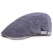 59b4b4d74b33 Men Cotton Beret Hat Buckle Adjustable Paper Boy Newsboy Cabbie Golf  Gentleman Cap