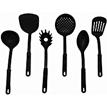 Set Of 6 Piece Non Stick Cooking Spoons Black Color Of The Handle May Vary