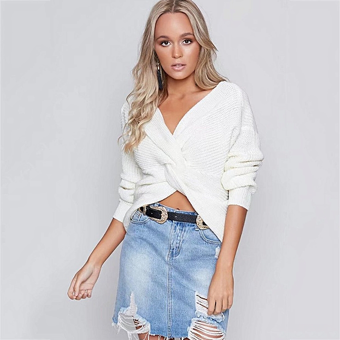 6323091093 y Womens V-neck Backless Sweater Reversible Long Sleeve Cross Tie Knot Tops