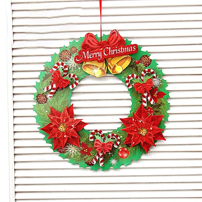 Christmas Paper Cartoon Merry Christmas Wreaths Mini New Year Garland Multi Color Mixed Bow Bell
