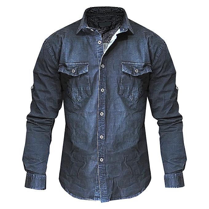 f5bf9958e4a Generic Men s Long Sleeve Jean Shirt - Black