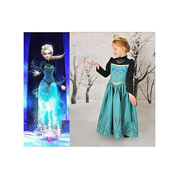 ae68d62b83e8b Anna Dress Children Clothing Girls Princess Elsa Anna Party Dresses Baby  Kids Clothes Vestidos-green