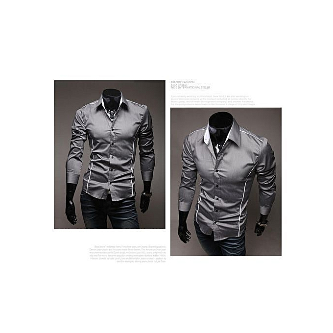 f83909e15e91 Jamickiki Design Men's Casual Perfect Slim Flanger Men's Long Sleeve Dress  Shirt-gray