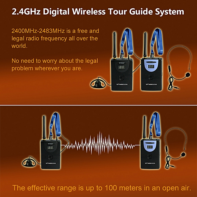 TP-WIRELESS 2 4GHz Wireless Audio Tour Guide Acoustic Transmission System  Headset Microphone 1 Transmitter 1 Receiver with Lanyard