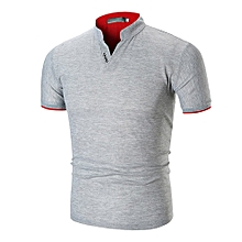 ee3d7b00c64 Mens Casual Summer Pure Color Stand Collar V Neck Polo Shirt Short T-Shirt