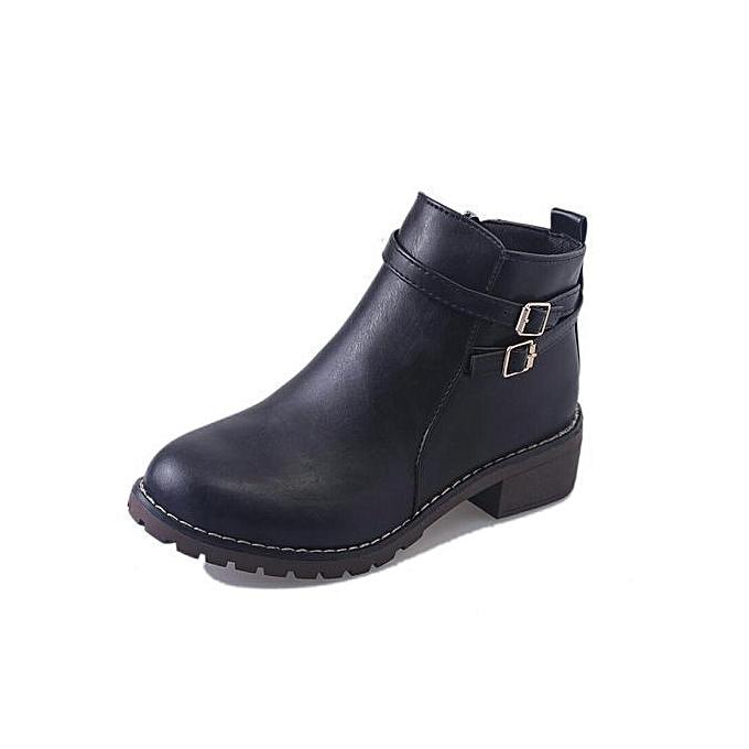 de5447c7a2c Women's Low Heel Buckle Ankle Boots - Black