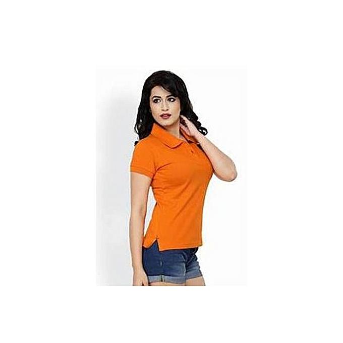 eae8bd477 Buy Other Plain Women's button T-Shirt- Orange online | Jumia Uganda