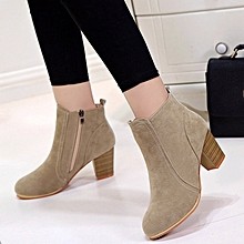 43c833654a2 Women  039 s Suedette Ankle Boots Low Heels With Zipper - Brown