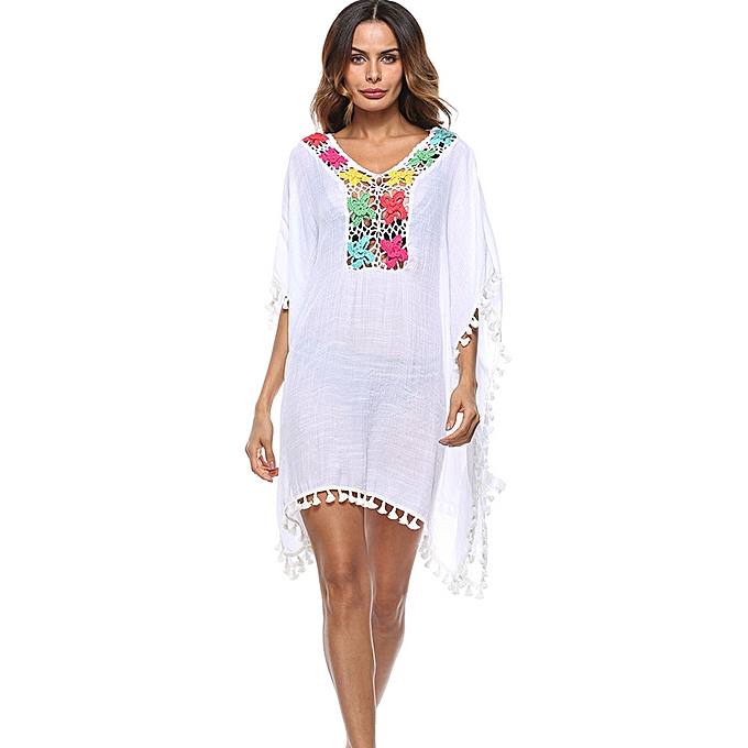 c3006c9085 Women Tassel Loose Large Size Swimsuit Bikini Beach Cover Up Sunscreen Cover  Up