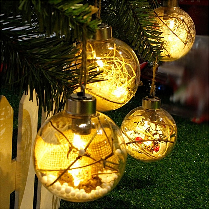... 8cm Christmas Tree Ball Ornaments Decorations Transparent Luminous Light Yellow straw ...