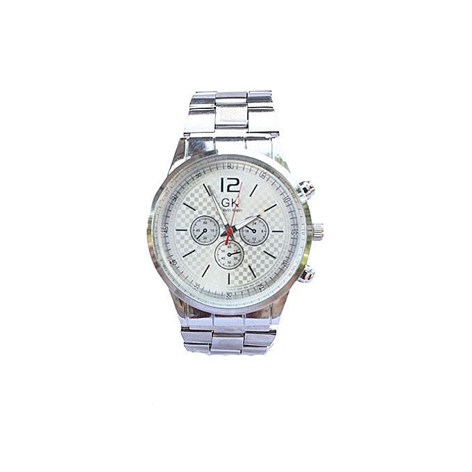cff676f9679 GK Stainless Steel Analog Wrist Watch For Men - Silver