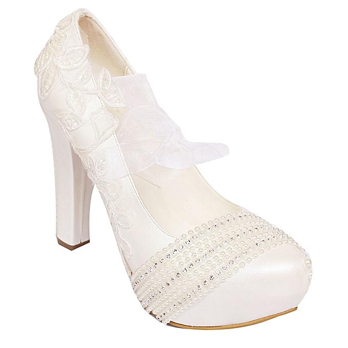 205461af2 Buy Generic Women's Block Heel Bridal Shoes - White online | Jumia ...
