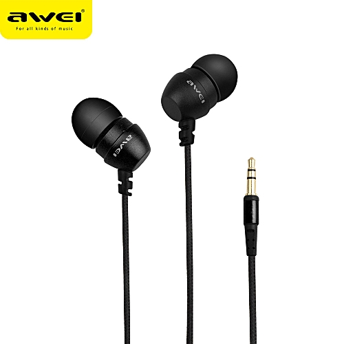 Hiamok Awei Anti-winding Super Bass Noise Isolating Earphone For Cellphone  Mp3 Mp4 BK