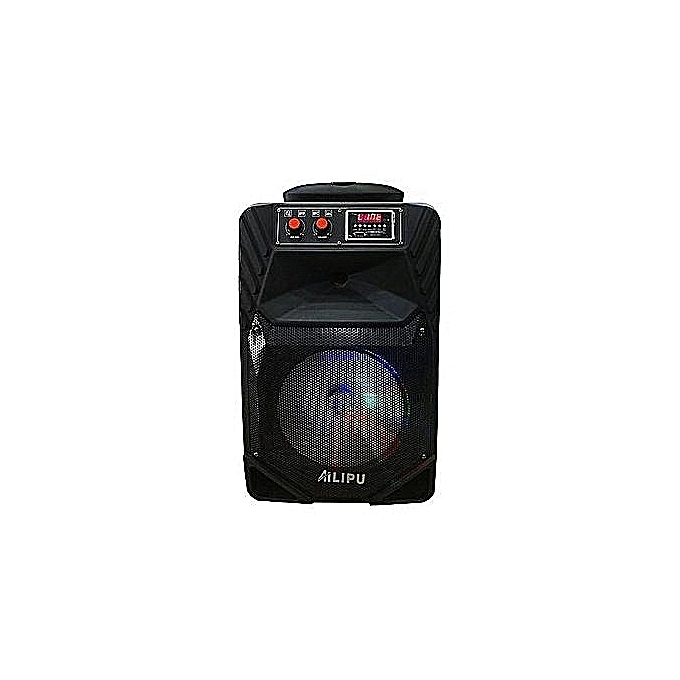 Ailipu 3323 -Rechargeable Powered Speaker/Woofer System with  Bluetooth/USB/SD Card Reader/FM Radio/Remote Control/Wireless Microphones -  Black
