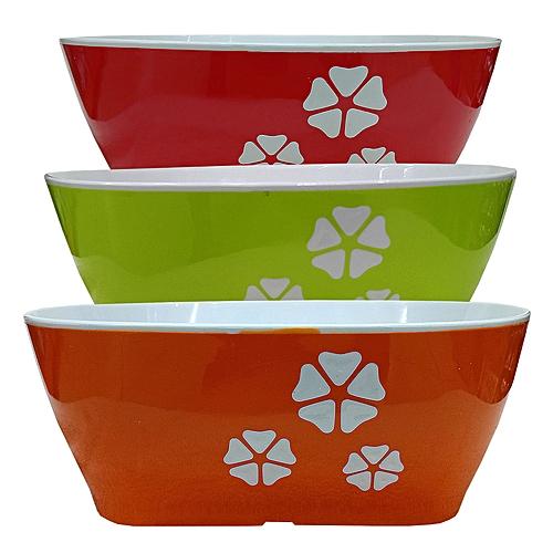 3 Pack Of Double Petal Ceramic Fruit Bowls Orange Green Red