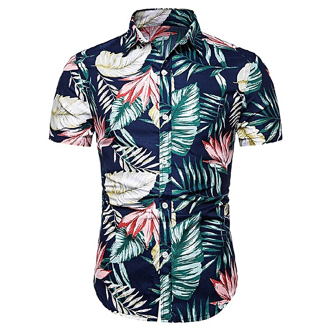 ce630bc9bcb Buy FASHION New Men's Casual Short Sleeve Hawaiian Flower Shirt ...