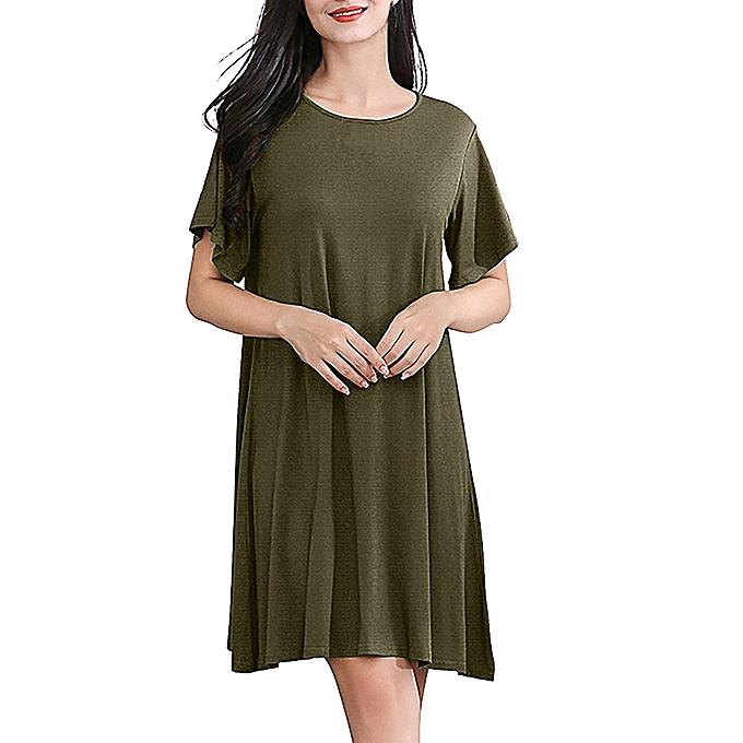 d19a919d4656e Women's Casual Simple V-Neck Solid Color Lrregular Loose Summer Dresses