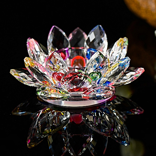 Buy Generic 7 Colors Crystal Glass Lotus Flower Candle Tea Light