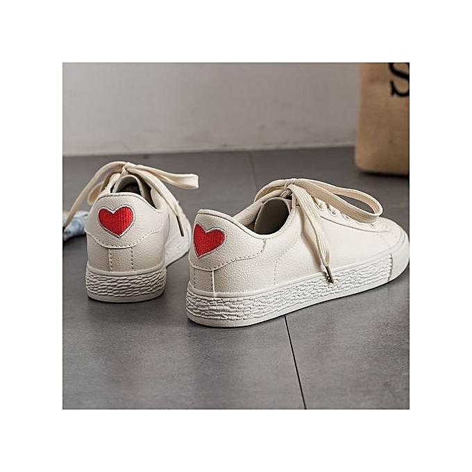 9d4d631f246 Stylish Women Heart Sport Shoes Leisure White Sneaker