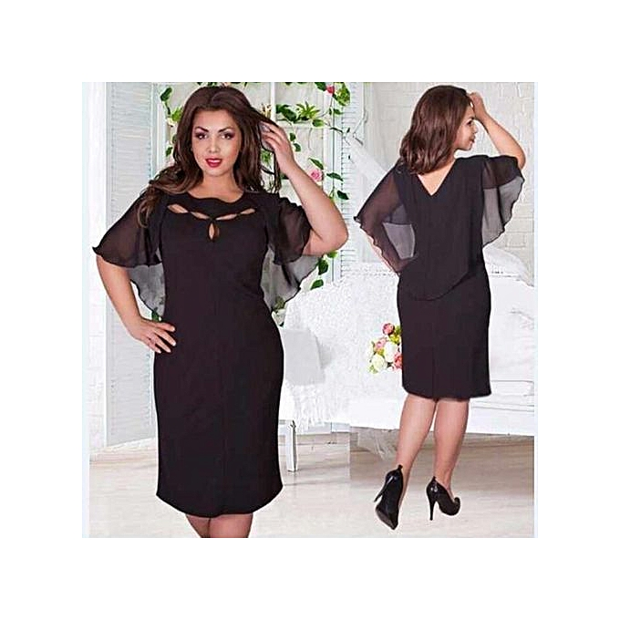 9b70fa3ead6b Plus Size Lace Dress Women Sexy O-Neck Half Sleeve A-line Party Gown