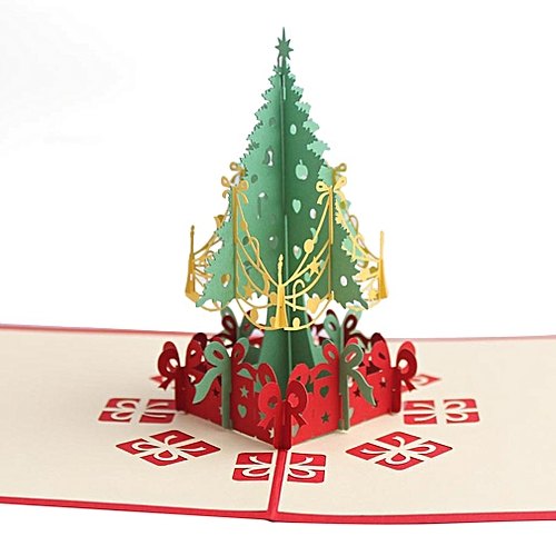 Handmade Christmas Cards 3d Pop Up Christmas Tree Invitation Greeting Cards Red