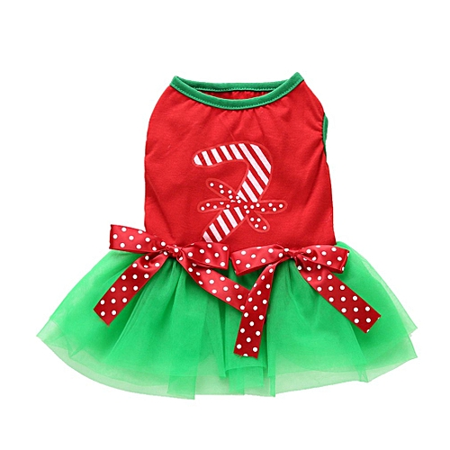 171e691ddfb Pets Dogs Christmas Costume Winter Dog Clothes For Small Dog Clothes Dress  green & red XL