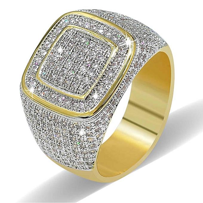 Luxury Fine Jewelry Copper 18K True Gold-plating Zircon Dazzling Ring Gift  for Men # 8
