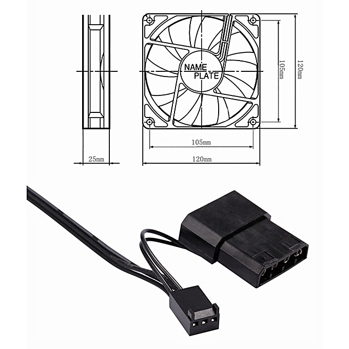 120mm 120x120x25mm 12V DC Brushless PC Computer Case Cooling Fan 1200PRM on